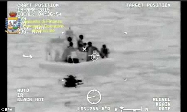 Rescuers trying to locate survivors of the boat that capsized a few weeks ago, killing over 900 migrants. Copyright: EPA